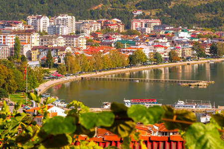 Ohrid, North Macedonia panoramic aerial view of houses, lake and promenade