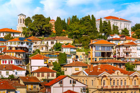 Ohrid, North Macedonia panoramic view of traditional houses with red tile roofs