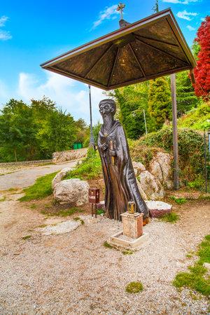 Ohrid, North Macedonia - October, 3, 2014: Saint Naum statue in the Monastery