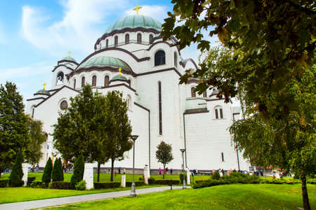 Belgrade, Serbia - November 1, 2014: Saint Sava cathedral in the center of Belgrade and people near it