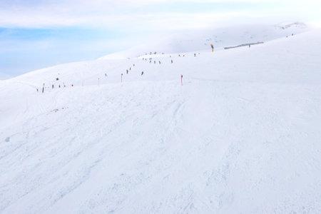 Saalbach, Austria winter ski slope landscape panorama, Austrian Alps