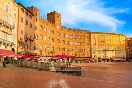 Siena, Italy - November 16, 2014: Panoramic view of famous Piazza del Campo