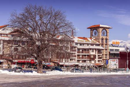 Bansko, Bulgaria - January 28, 2021: Bansko Royal Towers hotel in bulgarian ski resort in winter