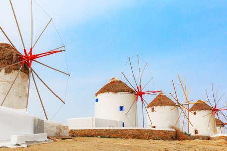 Mykonos island windmills in Greece, Cyclades