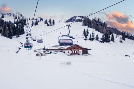 Ski slope in Saalbach Hinterglemm, Austria Standard-Bild