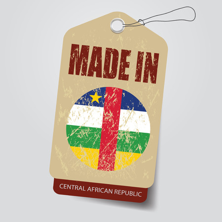 central african republic: Made in Central African Republic    . Tag . Illustration