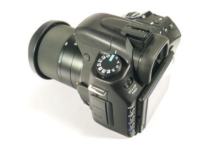 reflex: Black fotocamera digitale reflex Archivio Fotografico