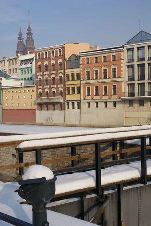 frozen river:   Buildings on frozen river Stock Photo