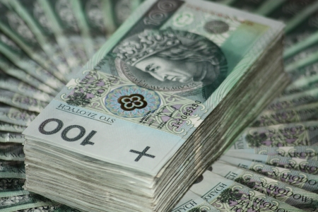 Stack of one hundred zloty photo