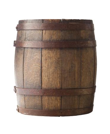 Oud houten vat op een bruine achtergrond