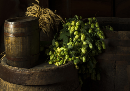 Still Life with a keg of beer Stock Photo
