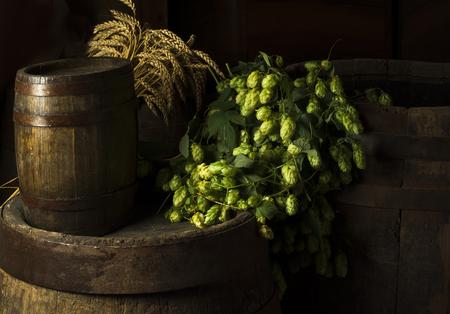 Still Life with a keg of beer Standard-Bild