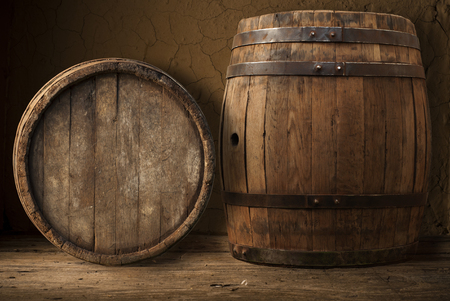 wooden barrel: Still Life with a keg of beer and draft beer by the glass. Stock Photo