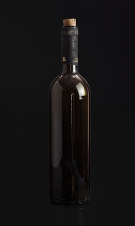 glass bottles: wine bottle. Isolated on black background Stock Photo