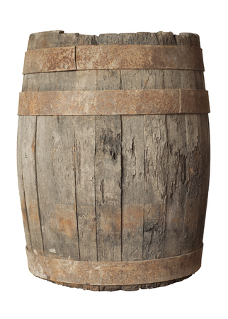 wet wood: render of a wine barrel from top , isolated on white