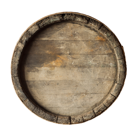 render of a wine barrel from top , isolated on white