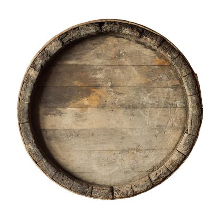 corcho: render de un barril de vino de arriba, aislado en blanco