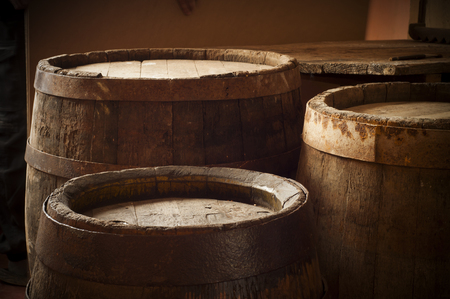 beer wine: barrel for wine and beer in the basement Stock Photo