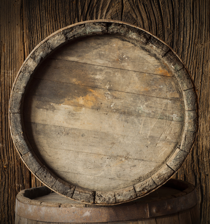 wooden barrel: barrel for wine and beer in the basement Stock Photo