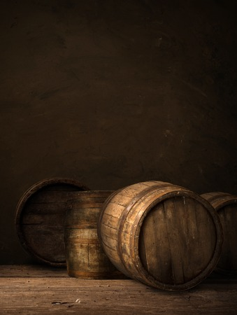 background of barrel keg, worn, storage, vintage 免版税图像