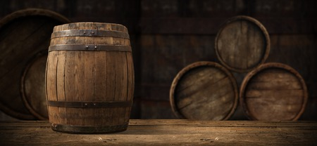 background of barrel and worn old table of wood,
