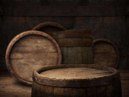 fondo del barril y la mesa de edad desgastado de madera, Foto de archivo