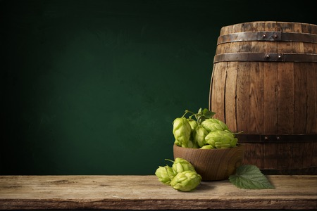 beer, cone, hop barley wheat table on brown Stock Photo