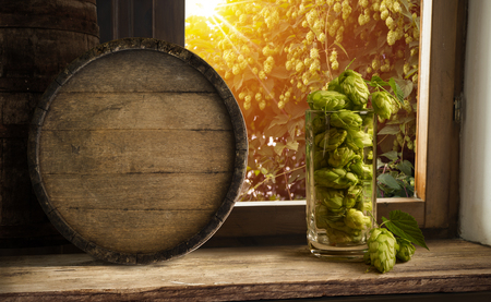 wino: glass beer on wood background with copyspace. Stock Photo