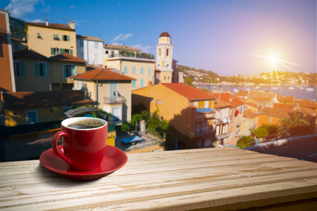 background with cup of coffee in europe 写真素材