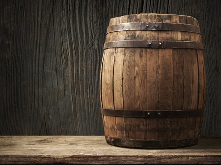 Wooden barrel for wine with steel ring. Clipping path included.