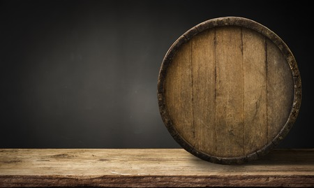 background of barrel and worn old table of wood. Stock Photo - 84077568