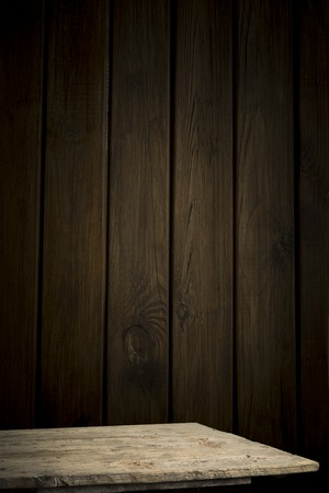 storage: background of barrel and worn old table of wood. Stock Photo