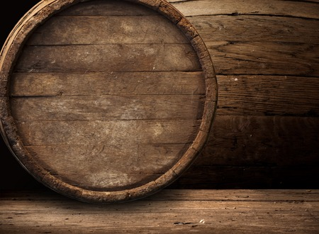 background of barrel and worn old table of wood. Stock fotó