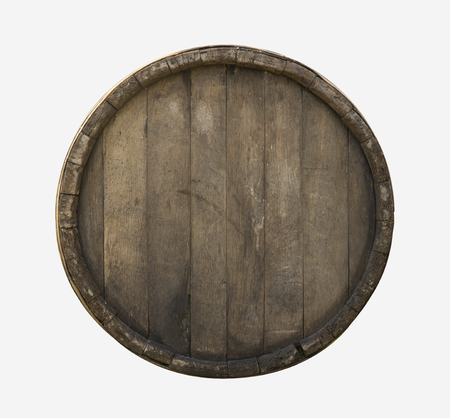 Wooden barrel top view isolated on white background 3d illustration Banco de Imagens