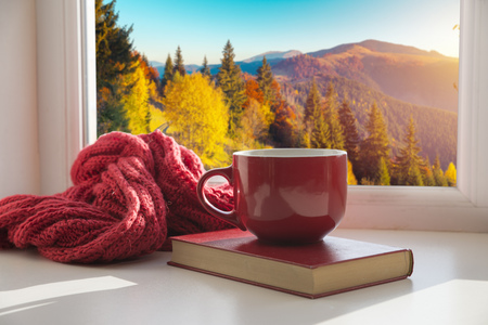 window with autumn leaves, a book, a mug of tea