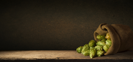 Hop twigs frame over wooden cracked table background. Vintage toned. Beer ingredients. Beautiful fresh-picked whole hops with green leaves border design close-up. Brewing concept, Vertical image 写真素材 - 119779199