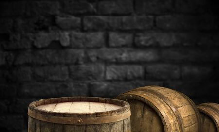 background of barrel and worn old table of wood Reklamní fotografie