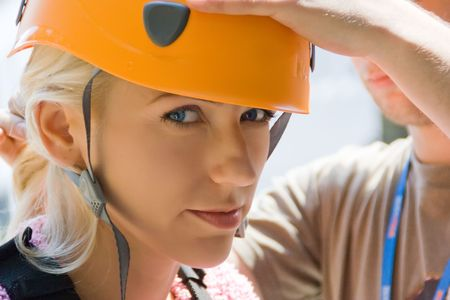 A girl wearing a safety helmet Stock Photo - 4639226