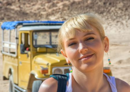A girl in front of jeep Stock Photo - 4703318