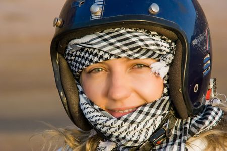 A girl wearing helmet and a headscarf Stock Photo - 5067730
