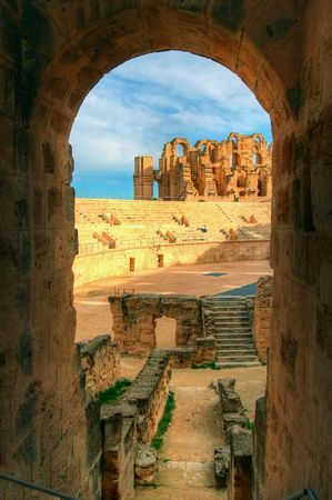 View on the arena of an ancient amphitheater Stock Photo - 5269479