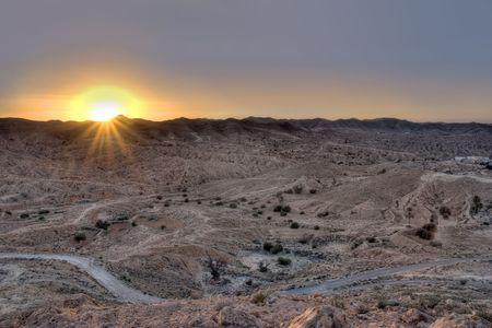 matmata: Sunset seen from Matmata hills, Tunisia Stock Photo