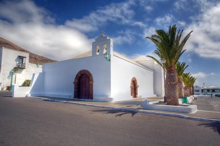 lanzarote: A white church in Femes, Lanzarote Stock Photo