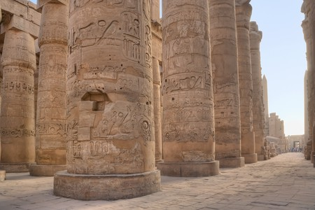 Hypostyle Hall in Karnak at dawn Stock Photo
