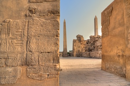 Two obelisks in Karnak temple, Luxor, Egypt Stock Photo