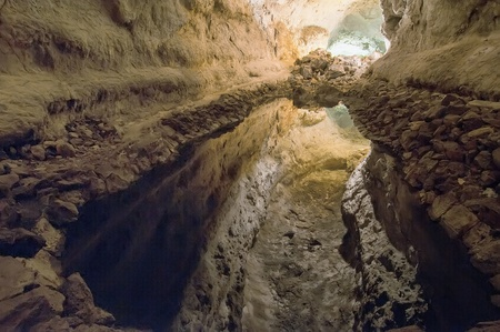 lanzarote: Cueva de los Verdes, Lanzarote, Canarische eilanden Stockfoto