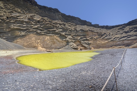 Green lake in El Golfo, Lanzarote, Spain Stock Photo - 8402780