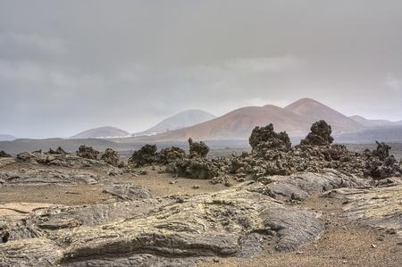 timanfaya: �rido paisaje del Parque Nacional de Timanfaya Foto de archivo