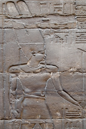 Old reliefs in Luxor temple, Egypt photo