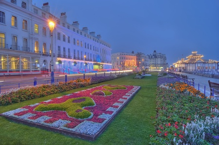 Eastbourne promenade by night Stock Photo